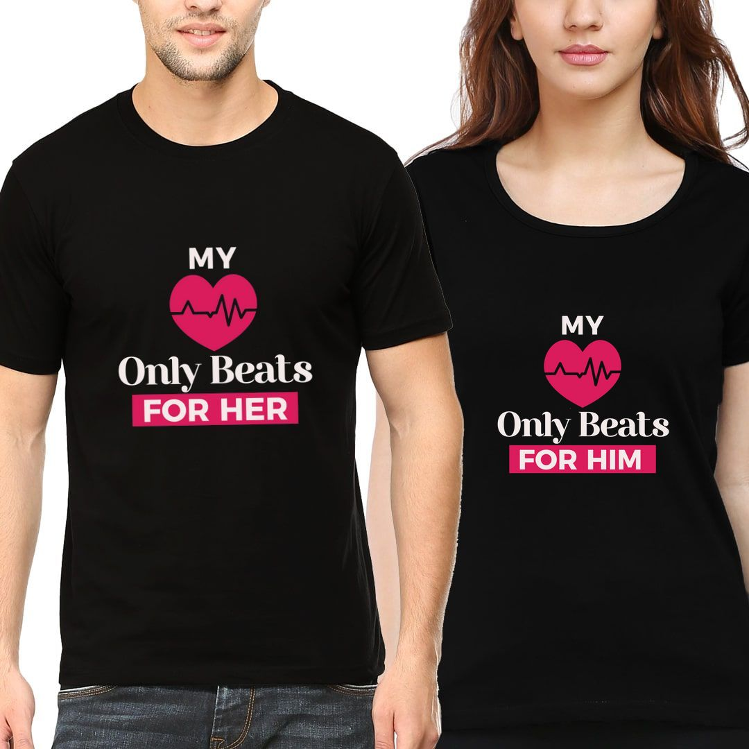 876d6a97 My Heart Only Beats For Her Him Couple T Shirts