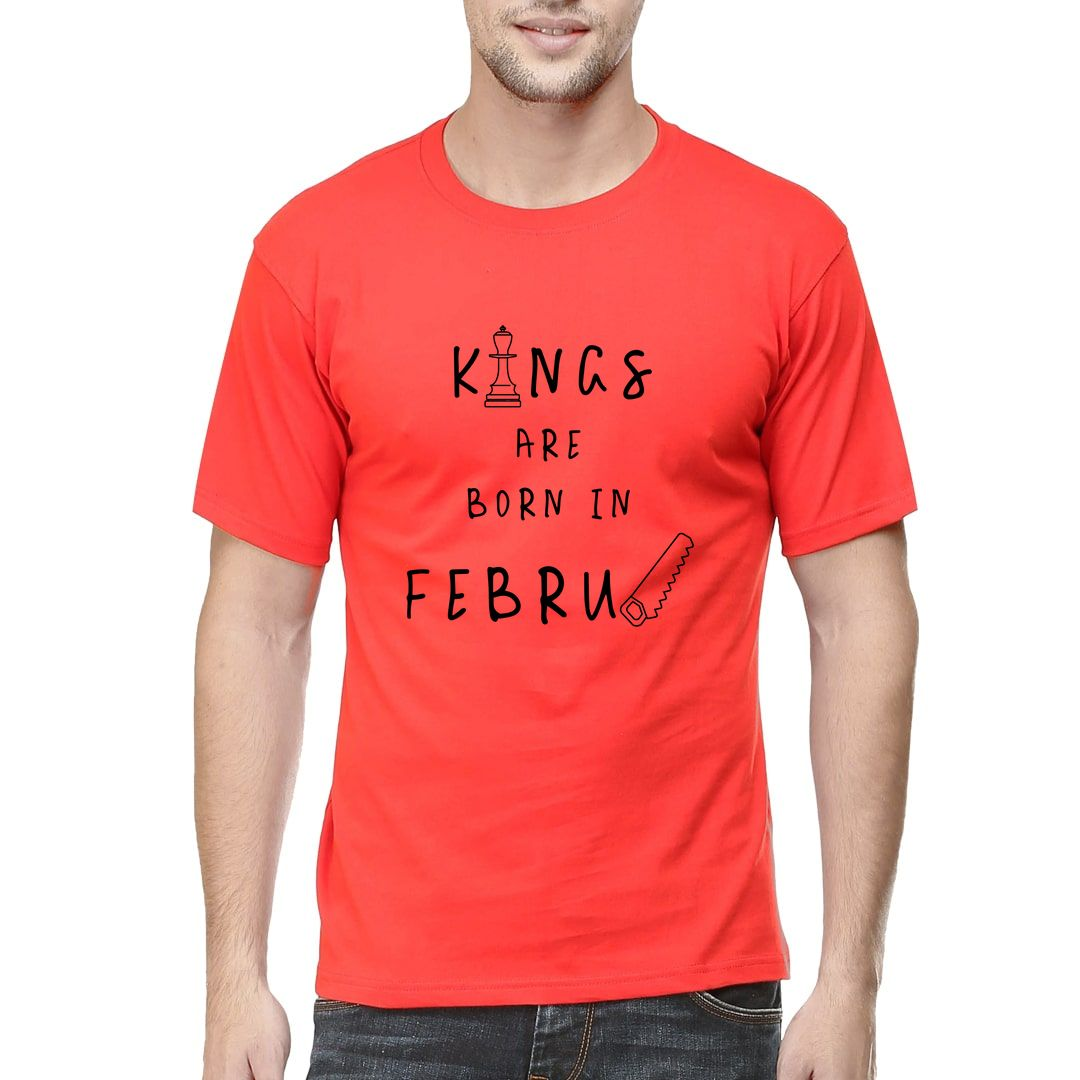 9e7faaa4 Kings Are Born In February Men T Shirt Red Front.jpg