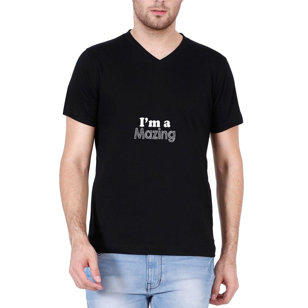 A0c7ce61 I Am A Mazing Men V Neck T Shirt Black Front.jpg