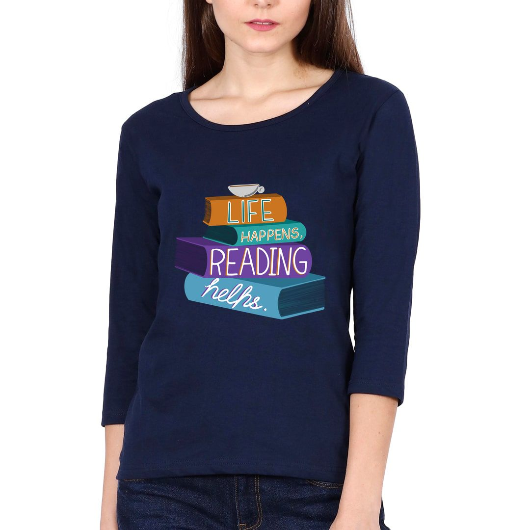 A3ed4a1c Life Happens Reading Helps Elbow Sleeve Women T Shirt Navy Front.jpg