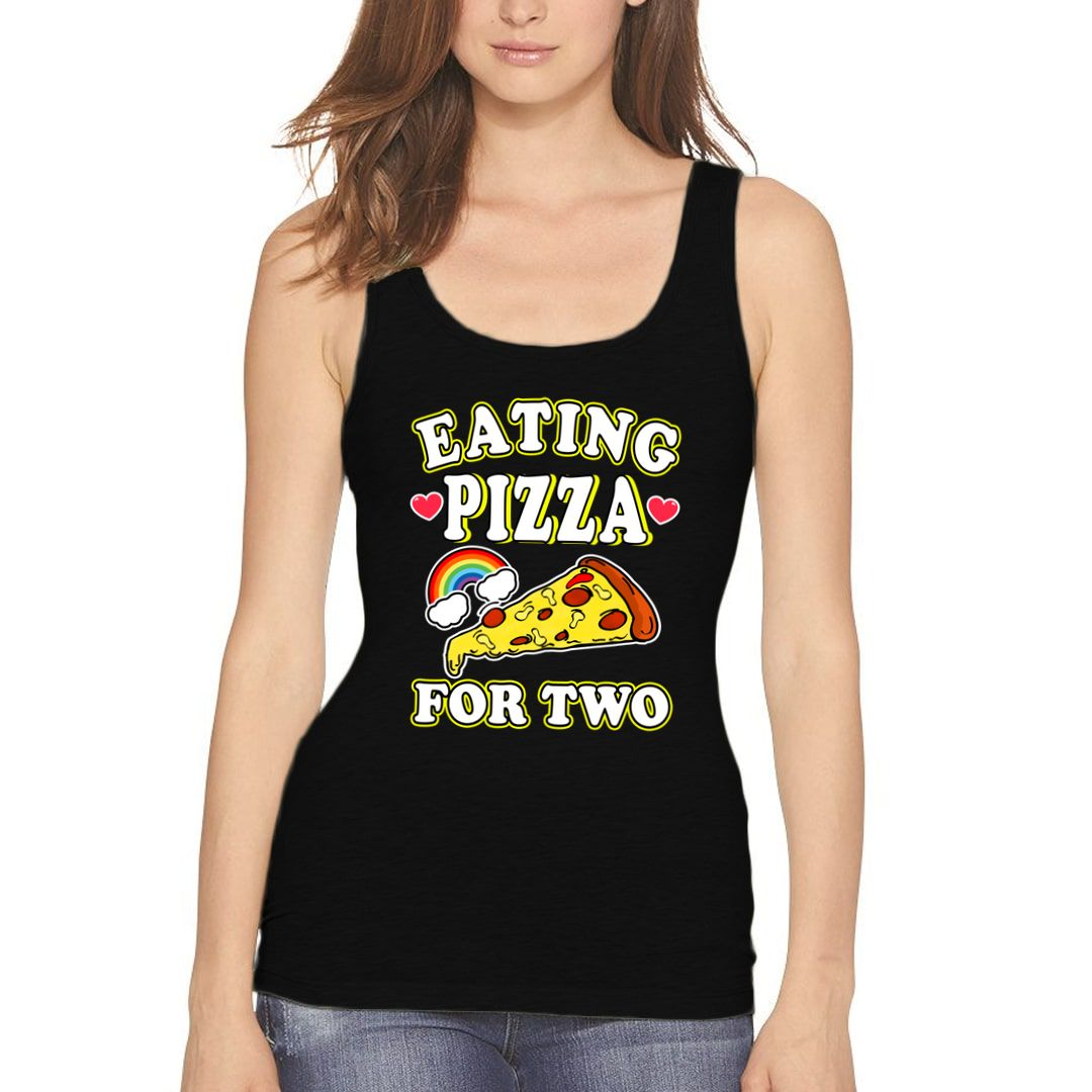 Ad6243a4 Eating Pizza For Two Women Tank Top Black Front.jpg