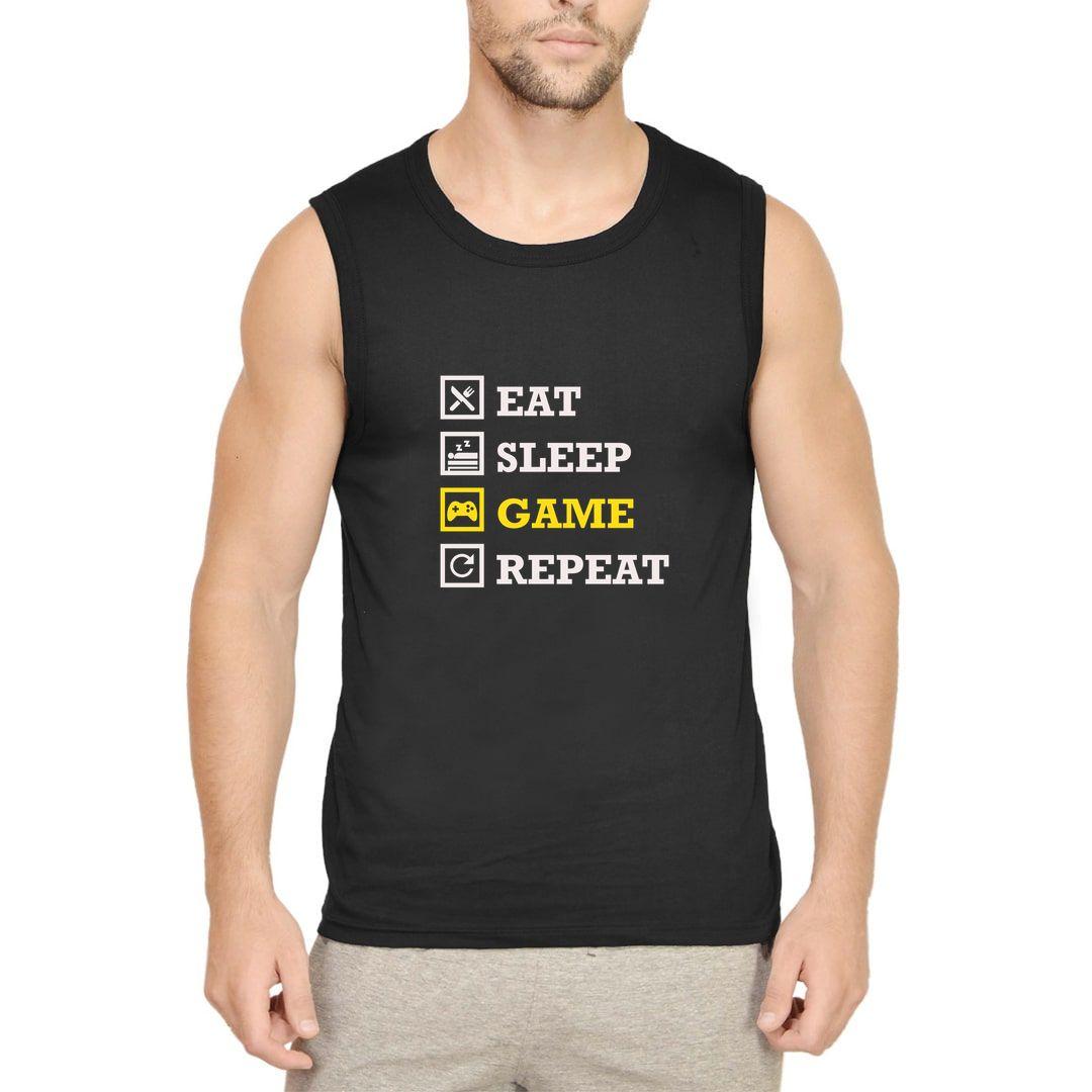 Afa9443a Eat Sleep Game Repeat Gamer Mode Men Sleeveless T Shirt Vest Black Front.jpg