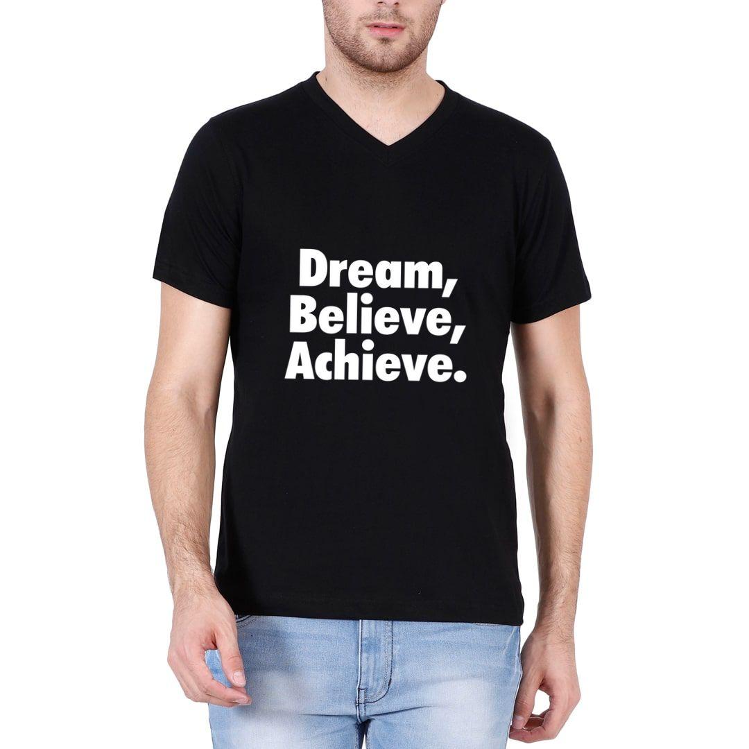 Bb408467 Dream Believe Achieve Men V Neck T Shirt Black Front.jpg