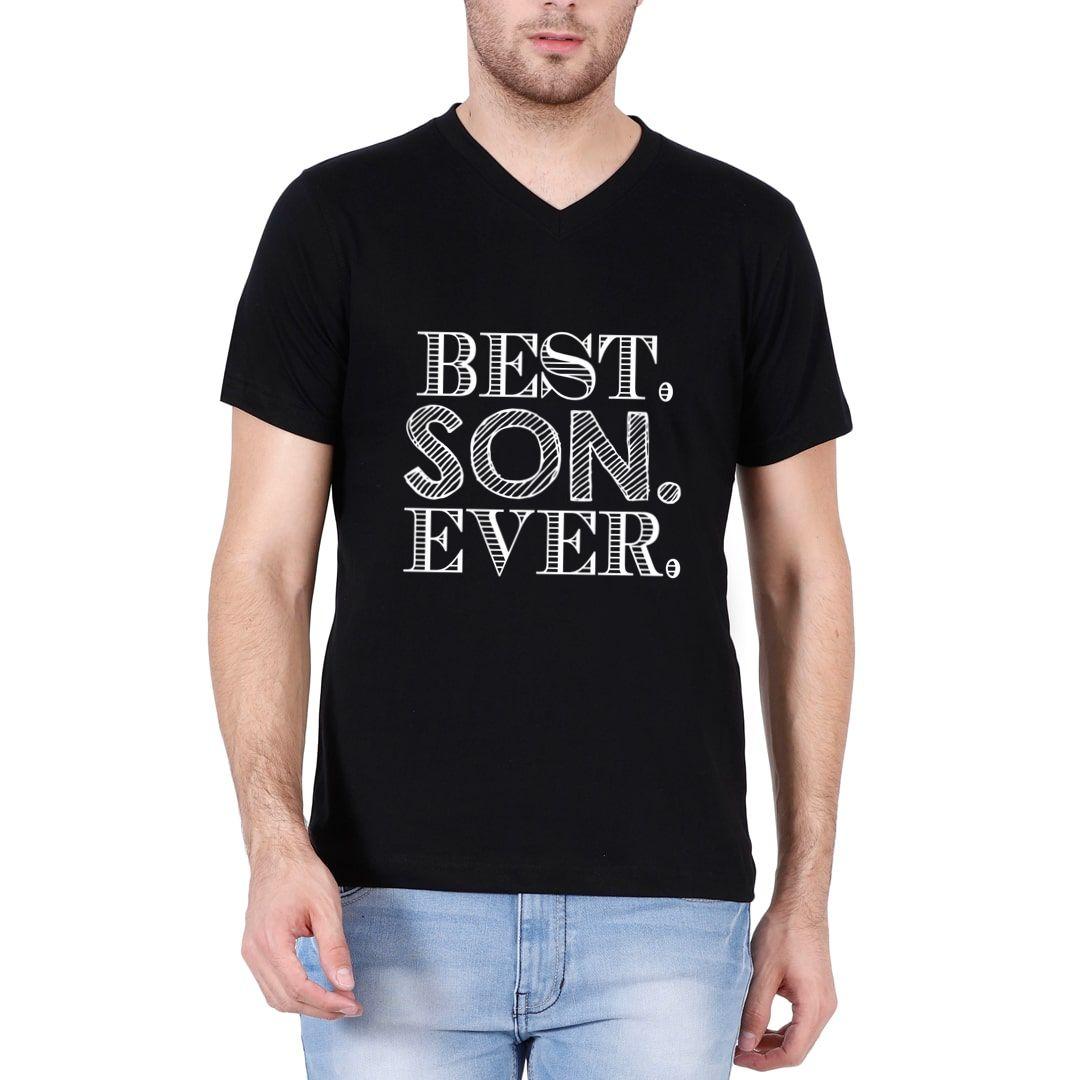 C5f2996b Best Son Ever Men V Neck T Shirt Black Front.jpg