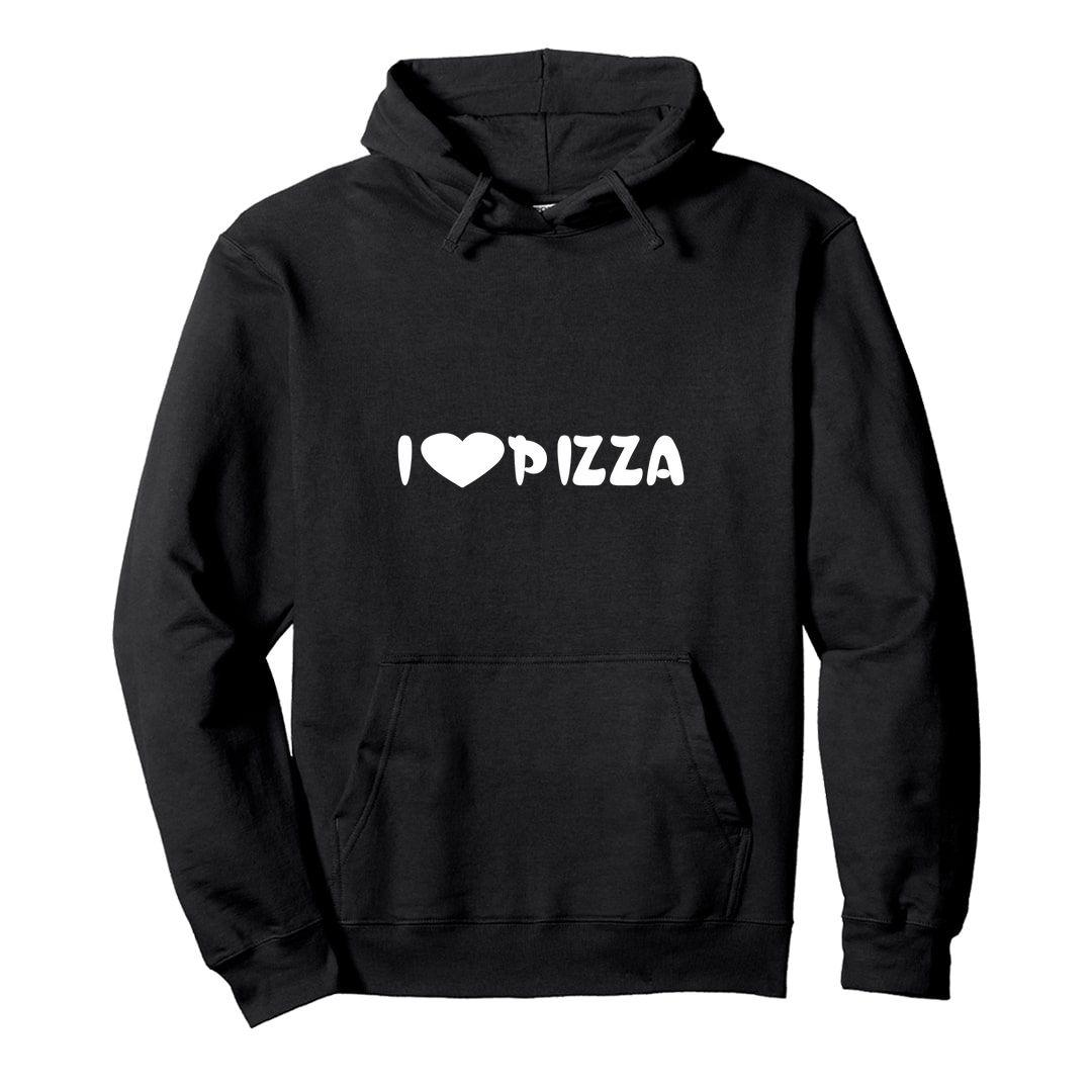 Fa79bb67 I Love Pizza Unisex Hooded Sweatshirt Hoodie Black Front.jpg