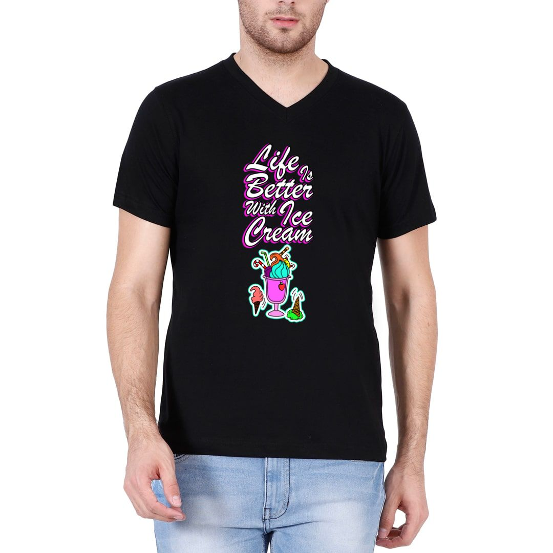 079a4620 Life Is Better With Ice Cream Men V Neck T Shirt Black Front.jpg