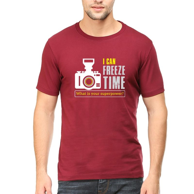 1056e704 i can freeze time what is your superpower photographer round neck t shirt maroon front