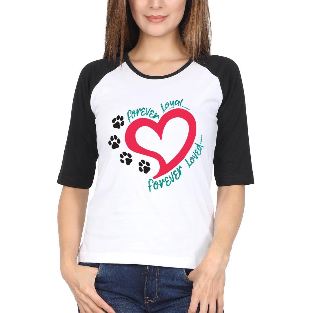 3e853483 Forever Loved Forever Loyal Women Raglan Elbow Sleeve T Shirt Black White Front