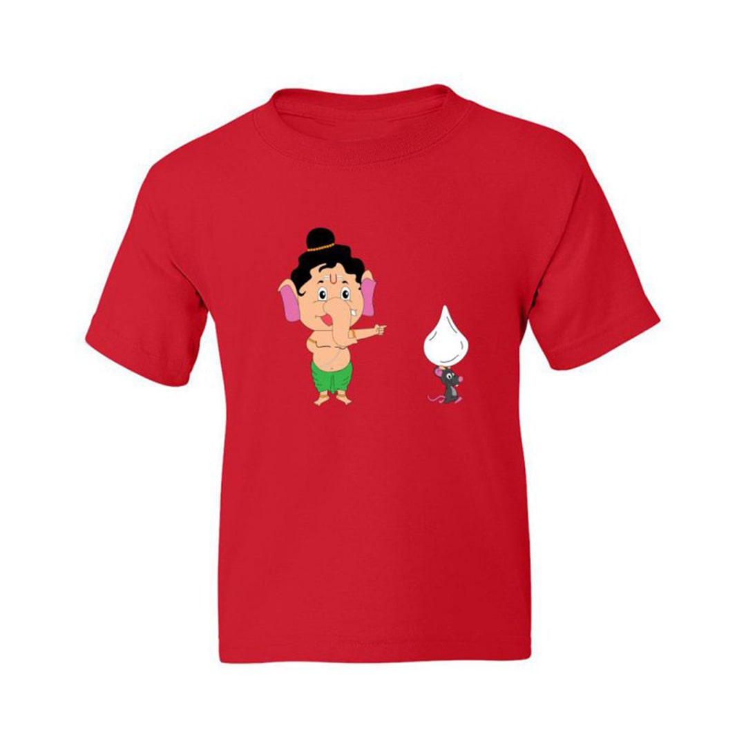 53e4eea8 Cute And Funny Ganesh With Modak Kids T Shirt Red Front