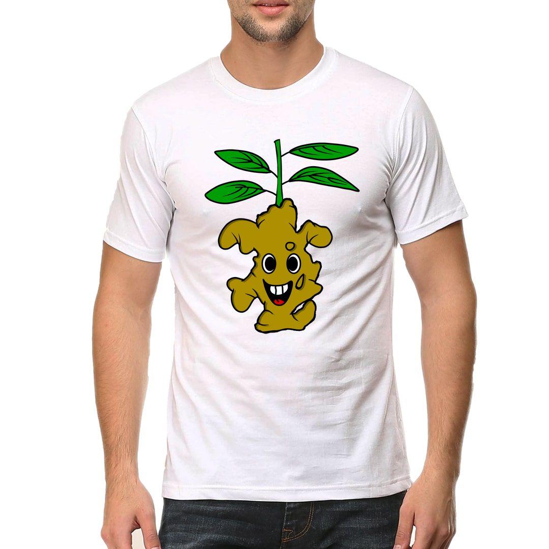 7988476f Ginger Plant Men T Shirt White Front