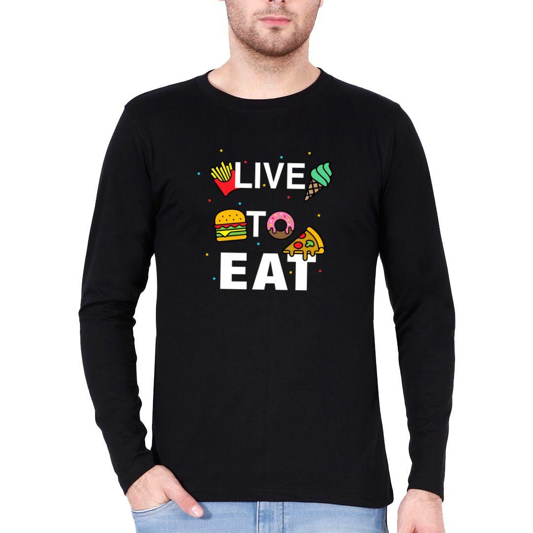 B022c180 Live To Eat Full Sleeve Men T Shirt Black Front