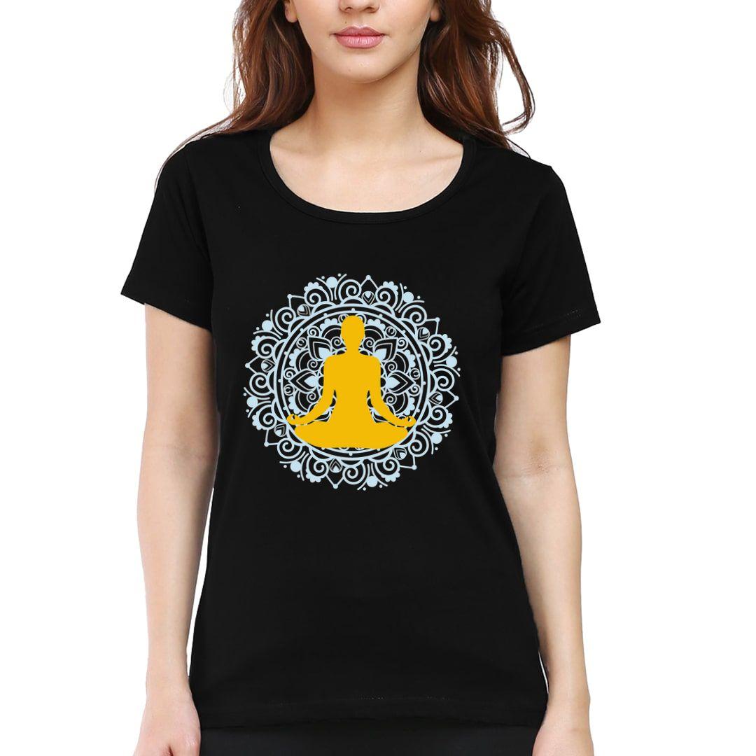 B858f8ec Yoga Mandala Women T Shirt Black Front