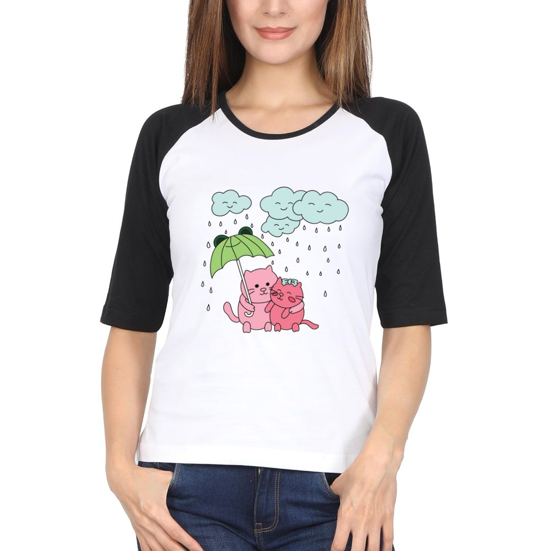 Be207a2f Cats Dancing In The Rain Women Raglan Elbow Sleeve T Shirt Black White Front