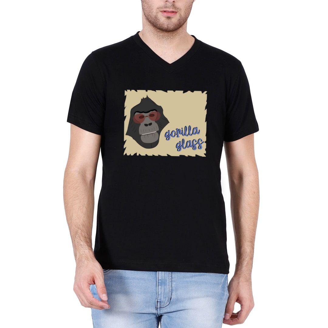 C2c5b9c7 Gorilla Glass Men V Neck T Shirt Black Front.jpg