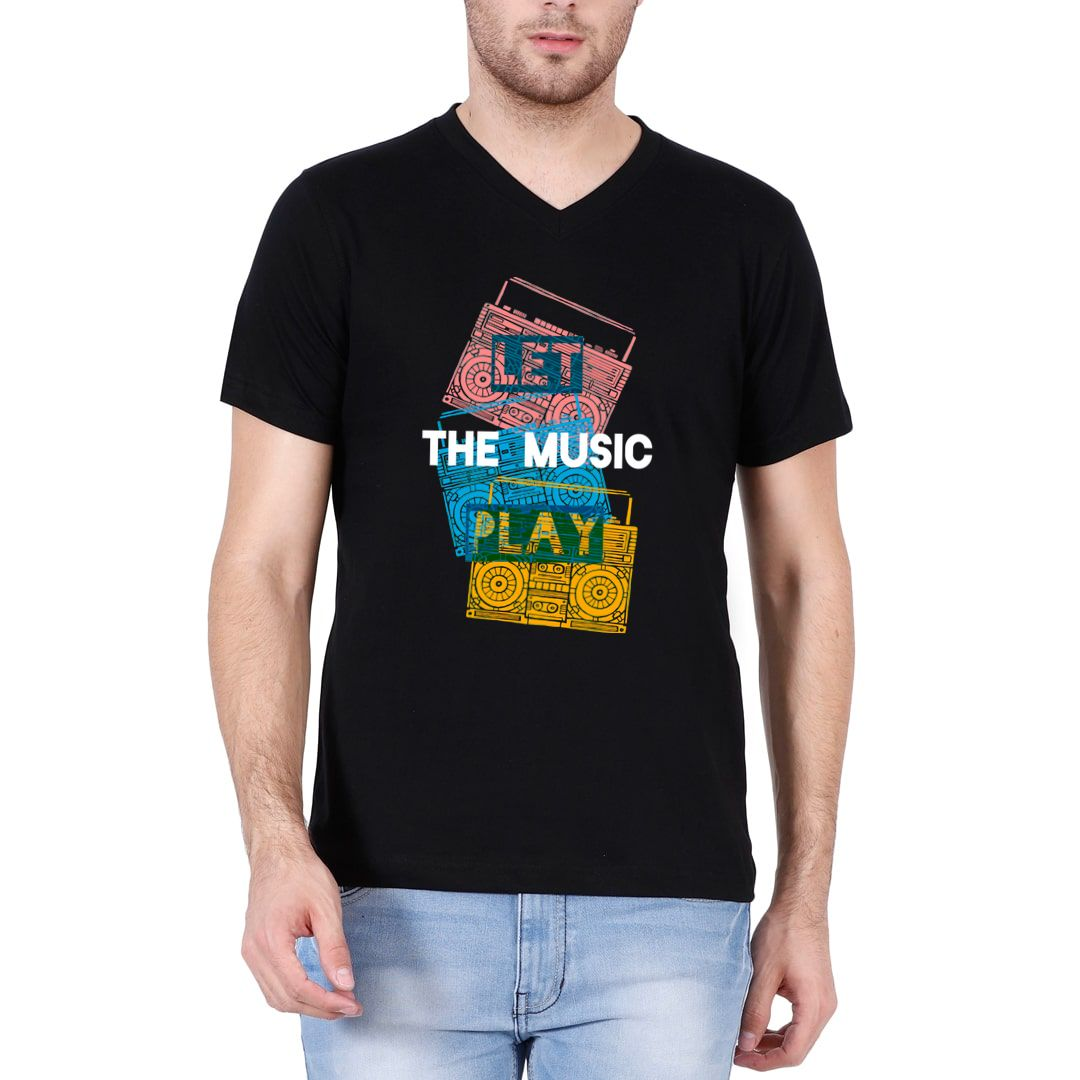 Ca1fcd3a Let The Music Play Men V Neck T Shirt Black Front