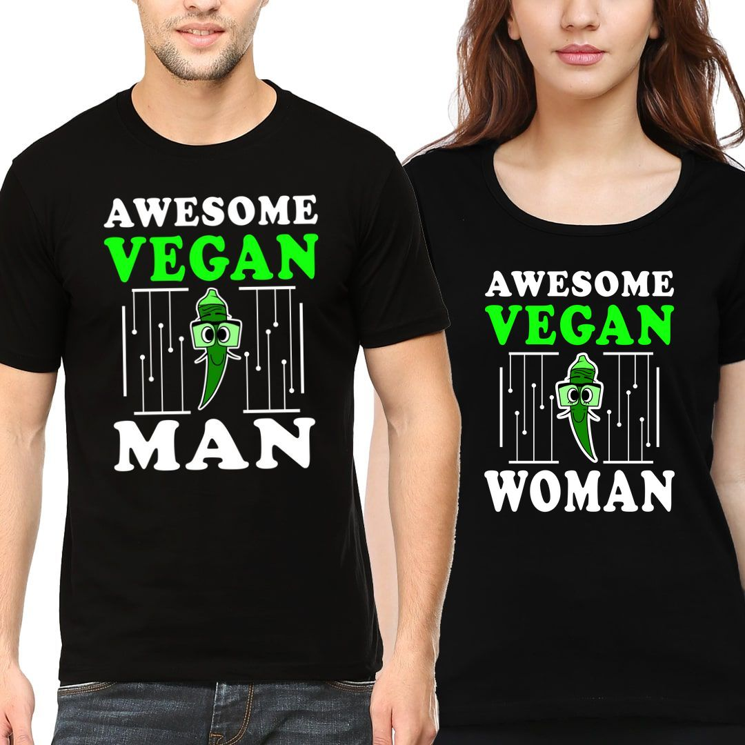 Dd8aec80 Awesome Vegan Man And Women Couple T Shirts