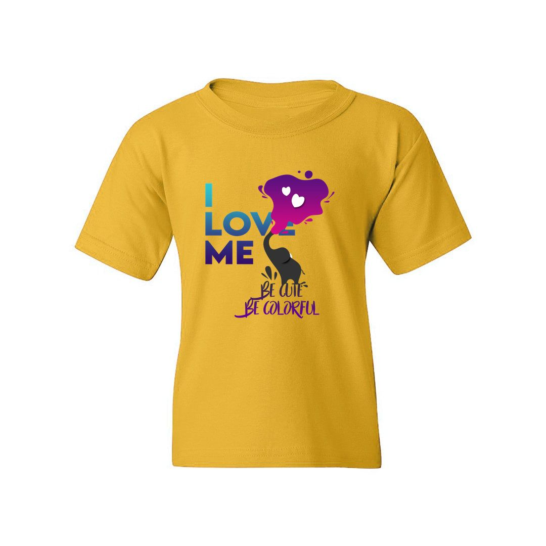1191dd2e I Love Me Be Cute Be Colorful Kids T Shirt Yellow Front