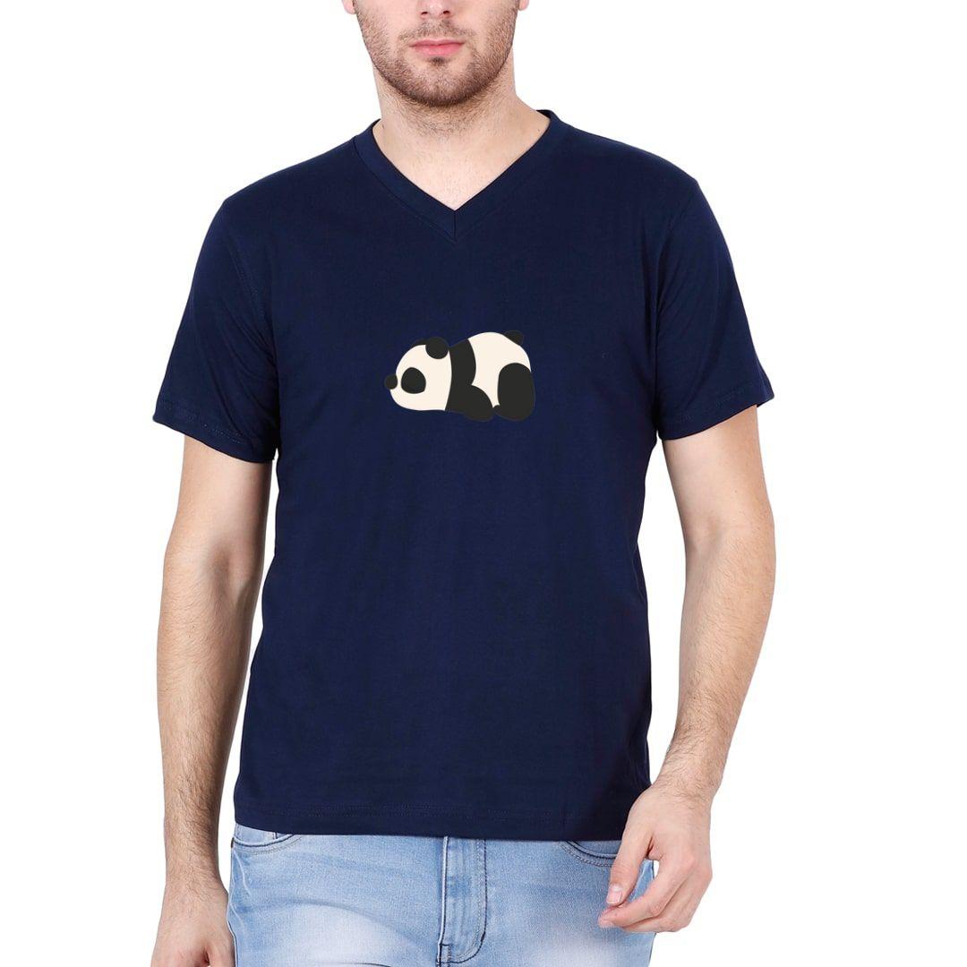 148d0acb Cute Panda Men V Neck T Shirt Navy Front