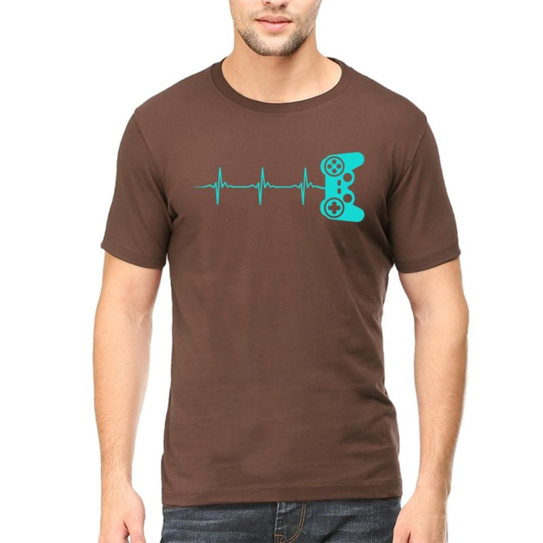14f20e7f Gamer Heartbeat For Gaming Geeks Men T Shirt Coffee Brown Front