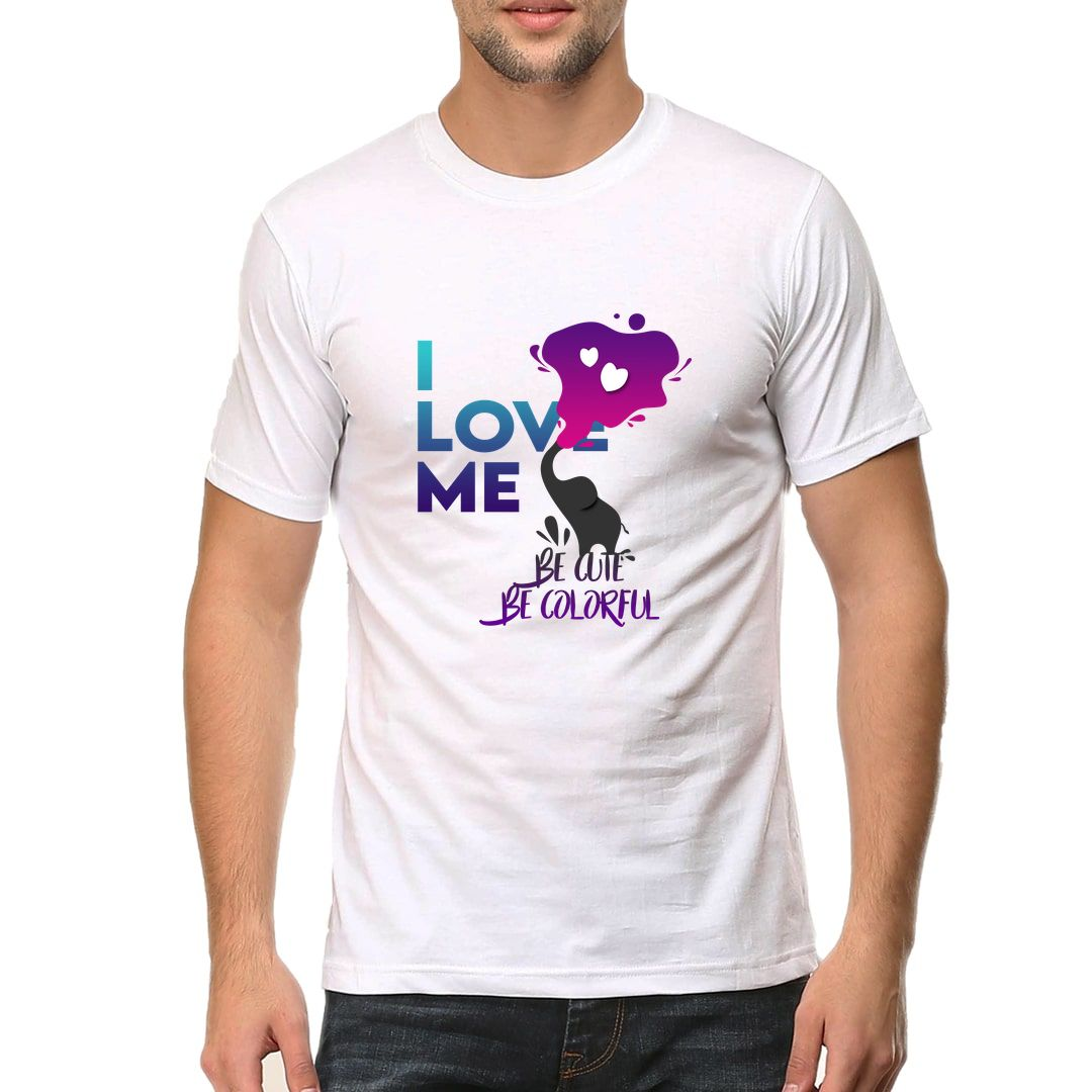 32ee348b I Love Me Be Cute Be Colorful Men T Shirt White Front