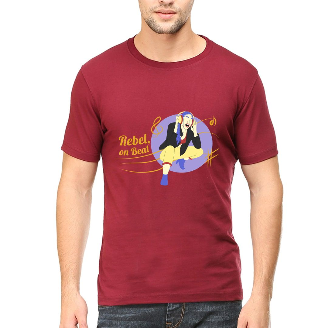 339944b8 Rebel On Beat Men T Shirt Maroon Front