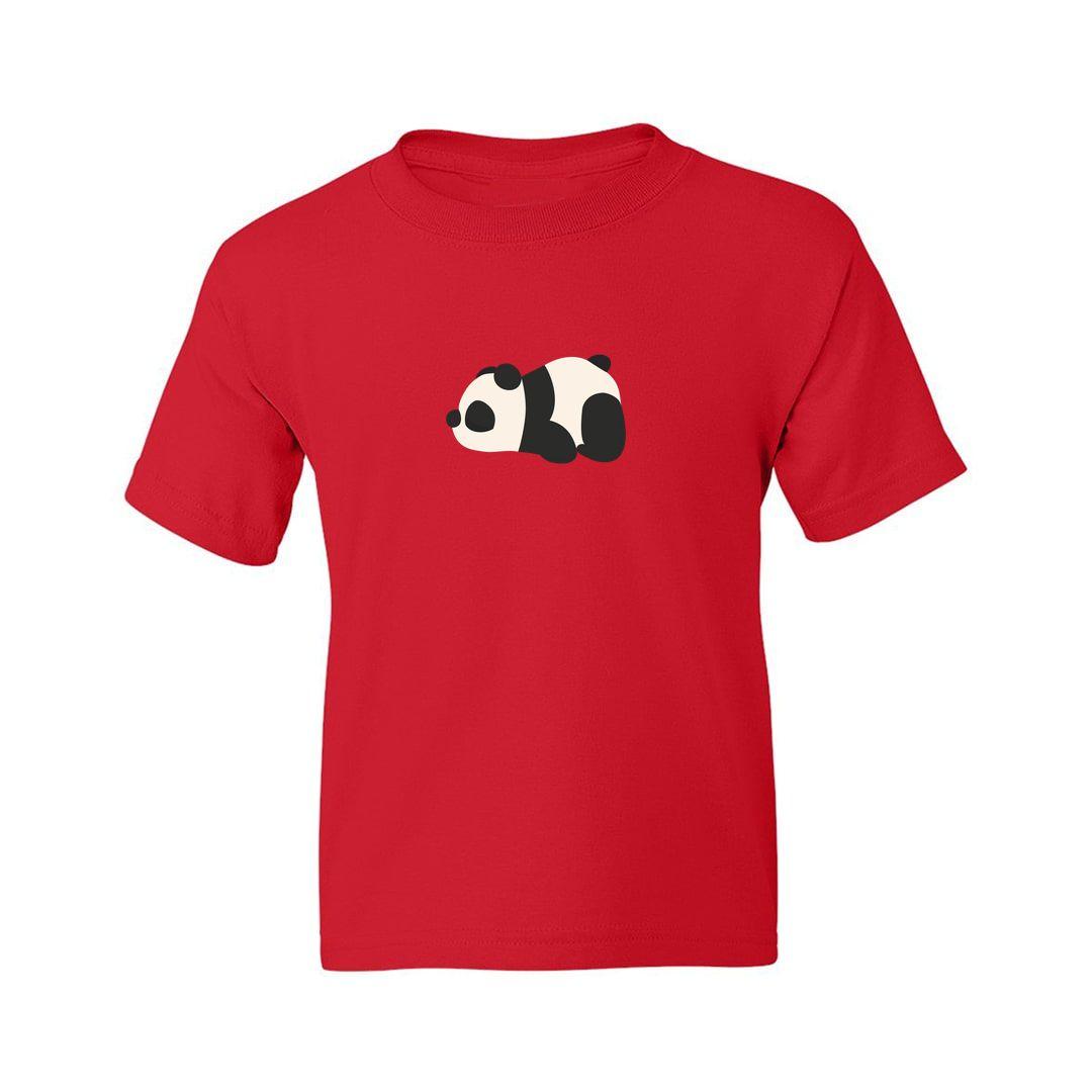 3e34e6e8 Cute Panda Kids T Shirt Red Front
