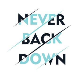 445c4554 never back down slogan white