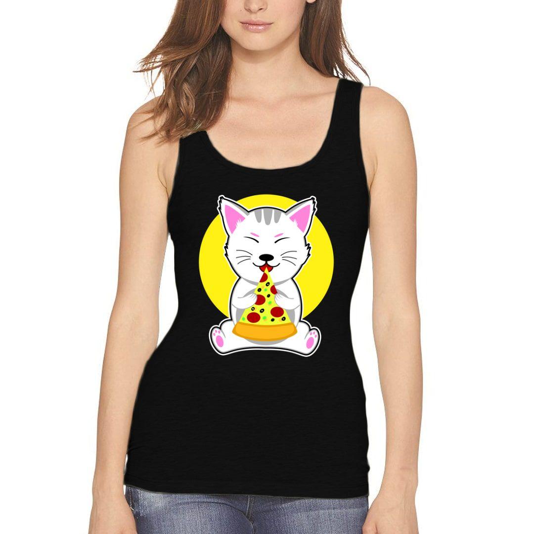 4597b6e4 Cute Cat Eating Pizza Women Tank Top Black Front