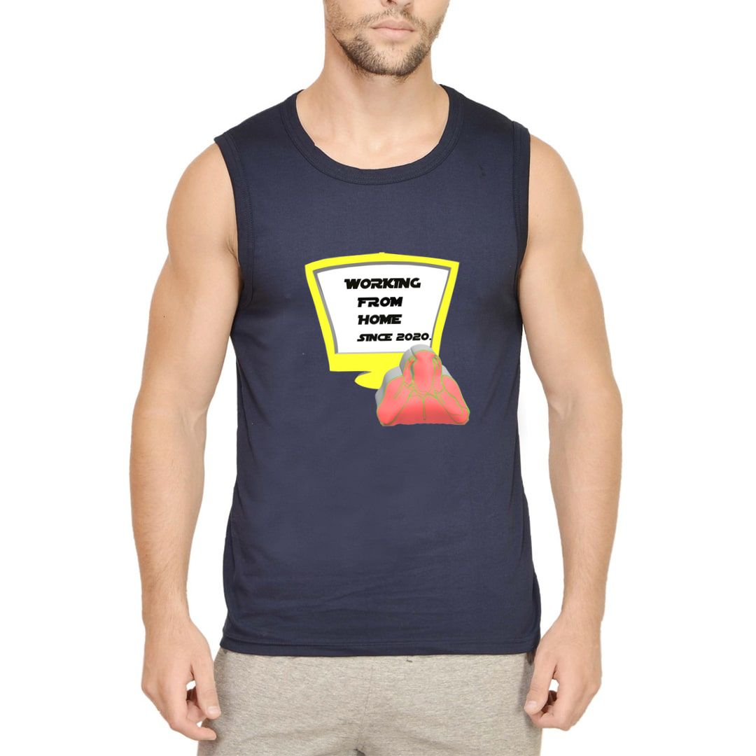 55dc873b Working From Home Since 2020 Men Sleeveless T Shirt Vest Navy Front