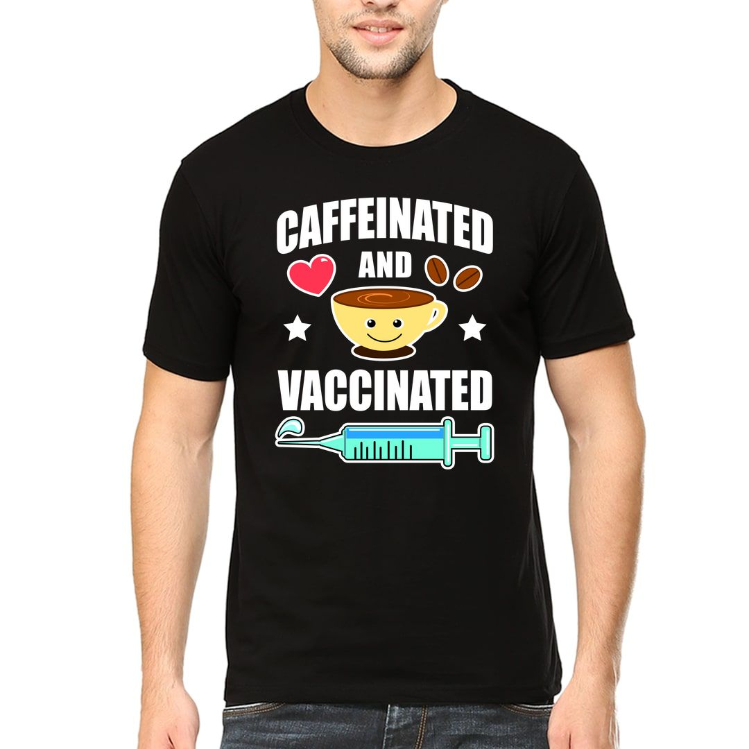 5fdf02dc Caffeinated And Vaccinated Men T Shirt Black Front