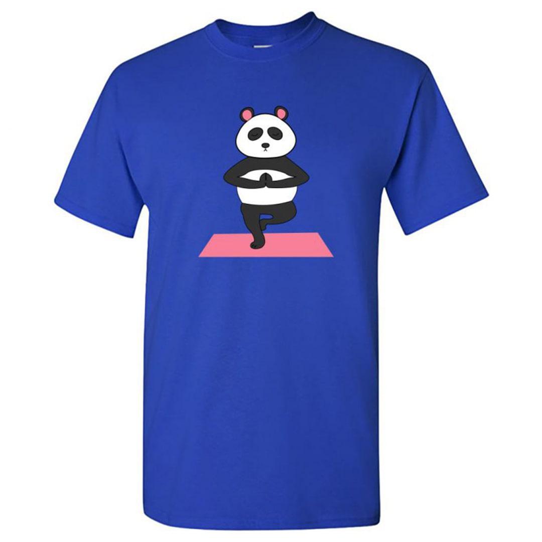 7682d850 Cute Panda Yoga Deep Meditation Round Neck T Shirt Royal Blue Front
