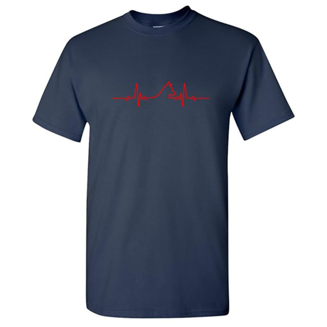 76f27458 My Heartbeat My Pet Dog Round Neck T Shirt Navy Front
