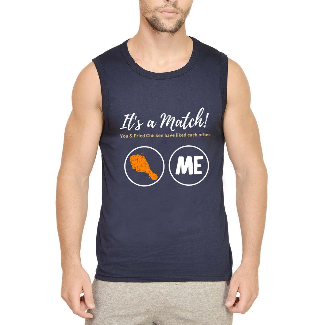 7c4ffb1c Its A Match Men Sleeveless T Shirt Vest Navy Front
