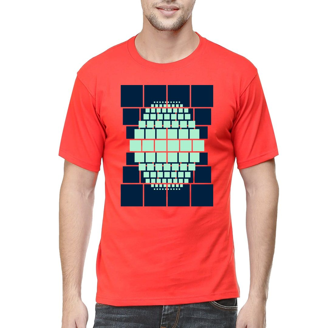 861973a1 Boxs Pattern Men T Shirt Red Front