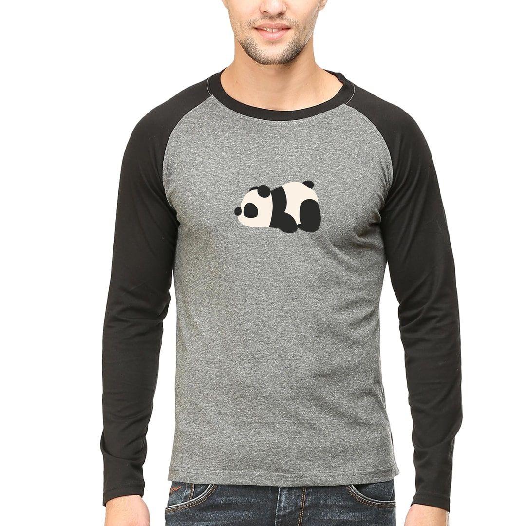 A5ac5f65 Cute Panda Men Raglan Full Sleeve T Shirt Black Charcoal Front