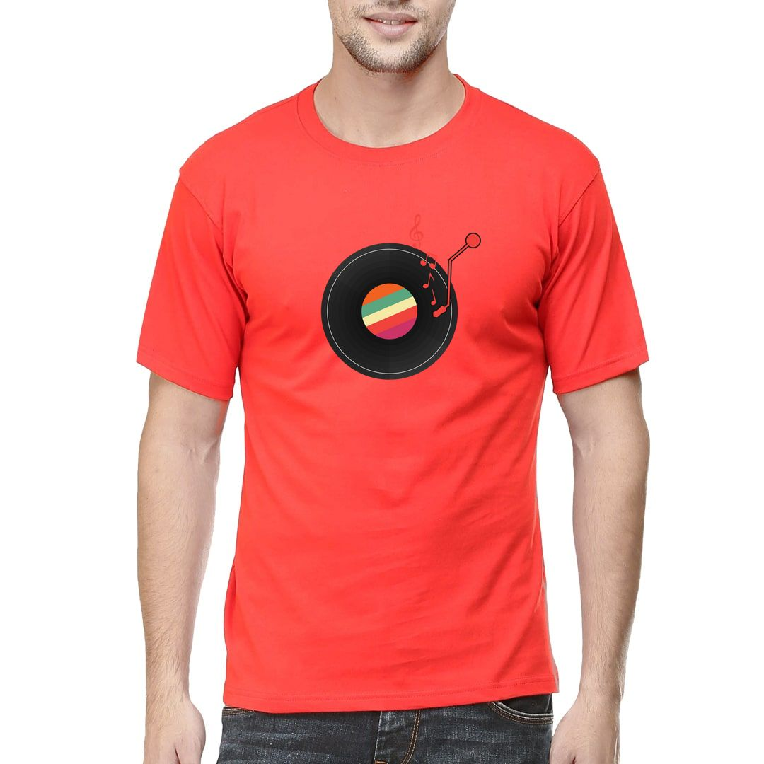 D5a584e5 Music Phonograph Disc For Vinyl Lovers Men T Shirt Red Front