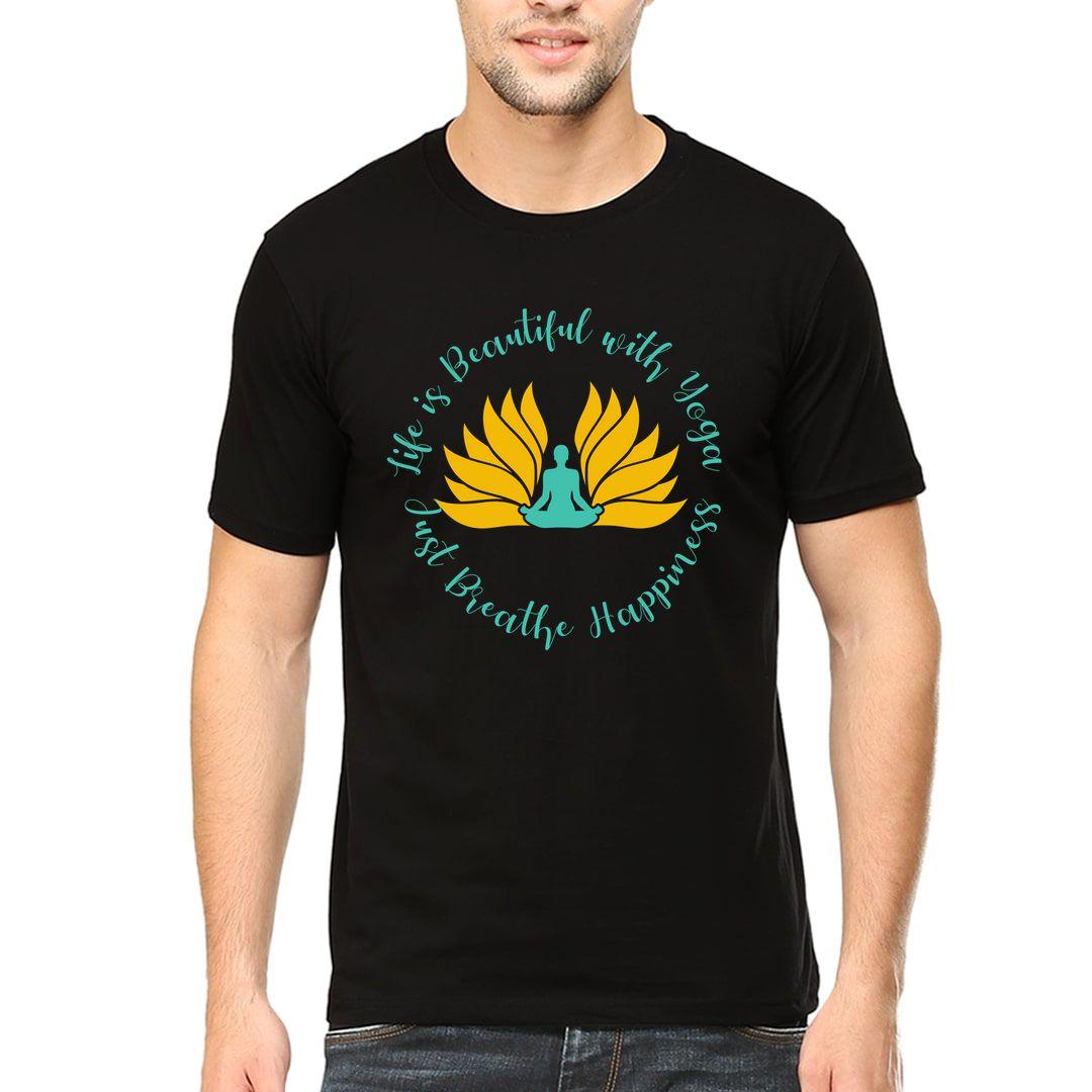 E8ef8658 Flower Yoga Men T Shirt Black Front