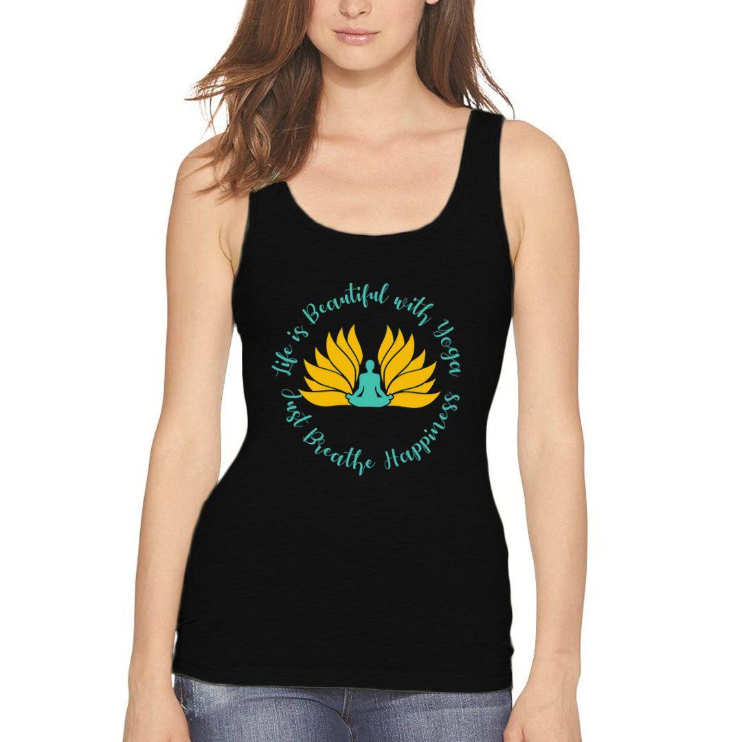 F583aa31 Flower Yoga Women Tank Top Black Front
