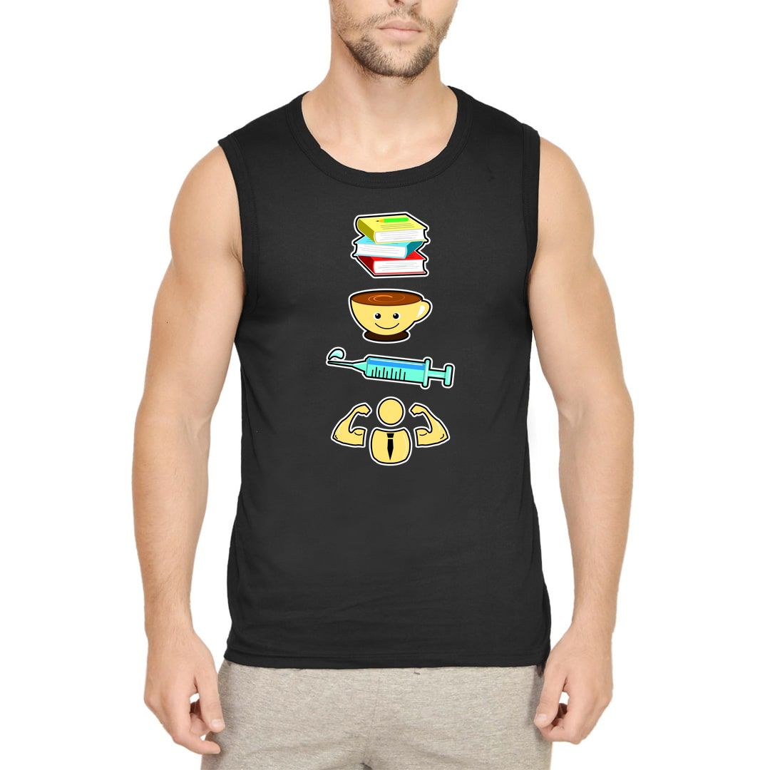 Fc5e7cdf Educated Caffeinated Vaccinated Dedicated Coffee Lover Men Sleeveless T Shirt Vest Black Front
