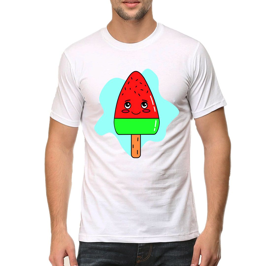 Fcff1d5f Cool Kawaii Cute Watermelon Ice Cream Candy Men T Shirt White Front