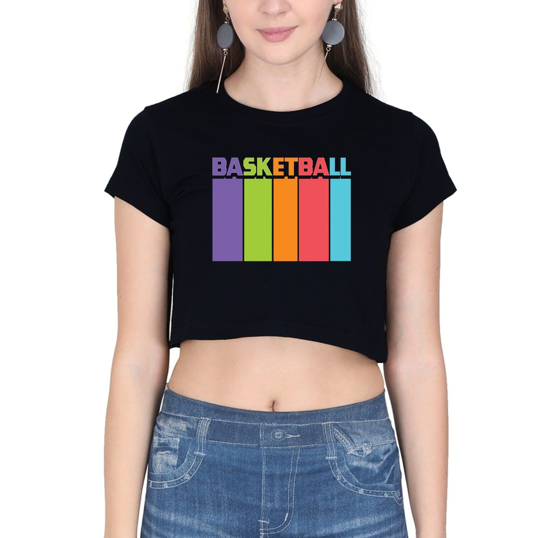 0378f4ef Basketball Tall And Colourful Women Crop Top Black Front