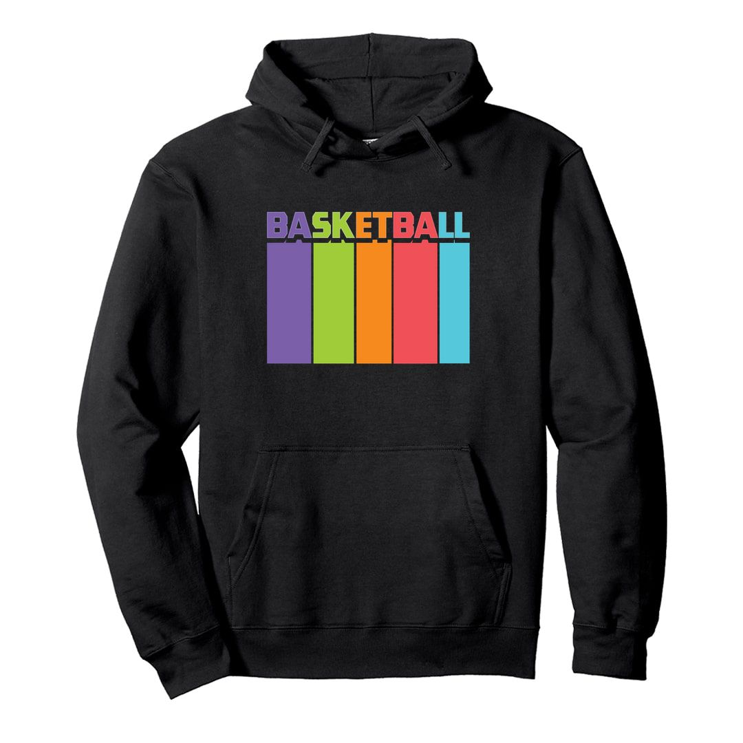 056f3b39 Basketball Tall And Colourful Unisex Hooded Sweatshirt Hoodie Black Front