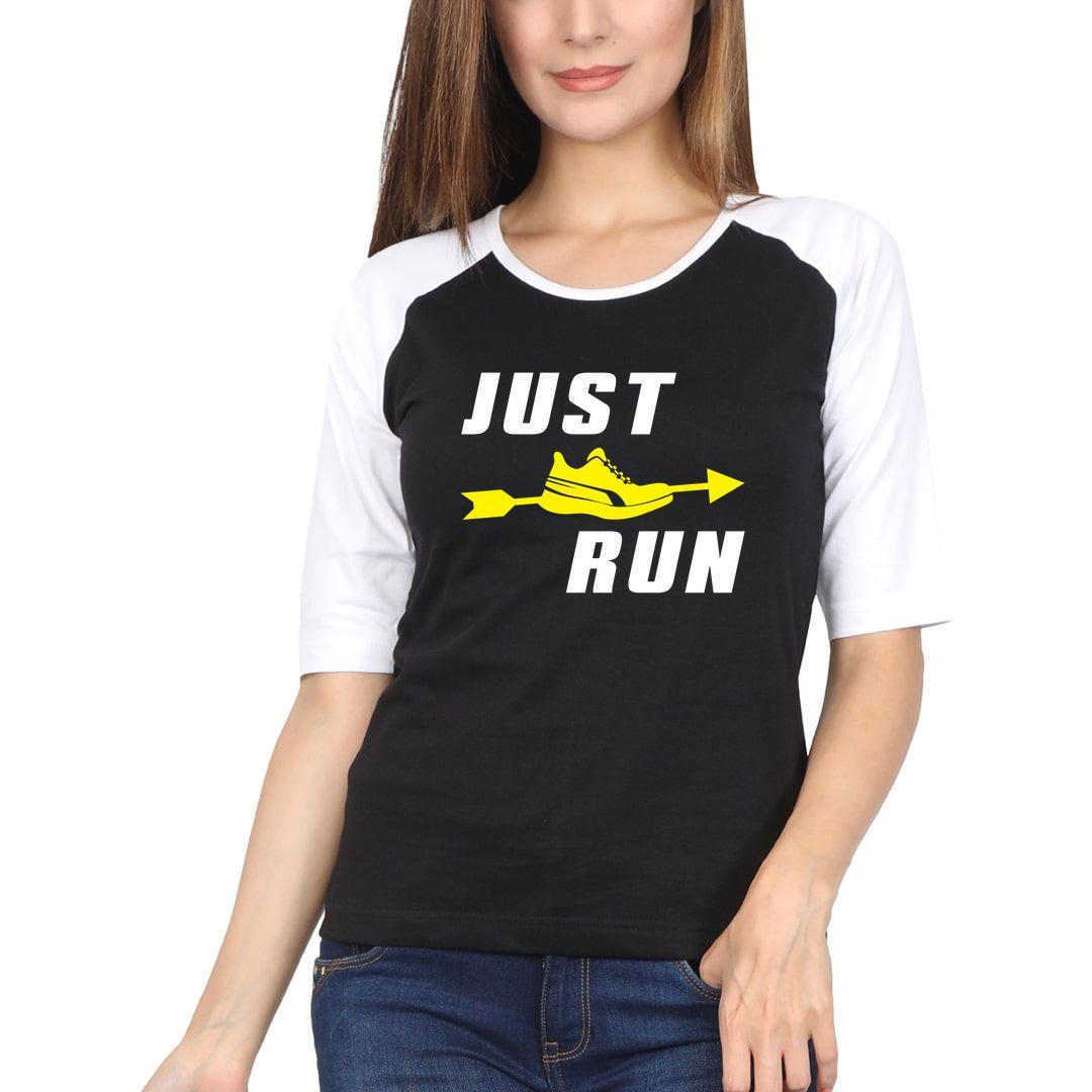 059a26d5 Just Run Women Raglan Elbow Sleeve T Shirt White Black Front