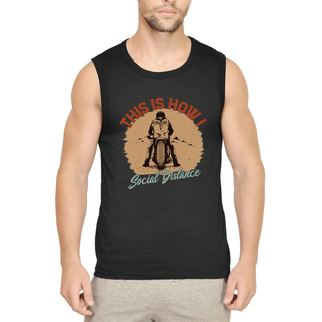 08a596e5 This Is How I Social Distance Men Sleeveless T Shirt Vest Black Front