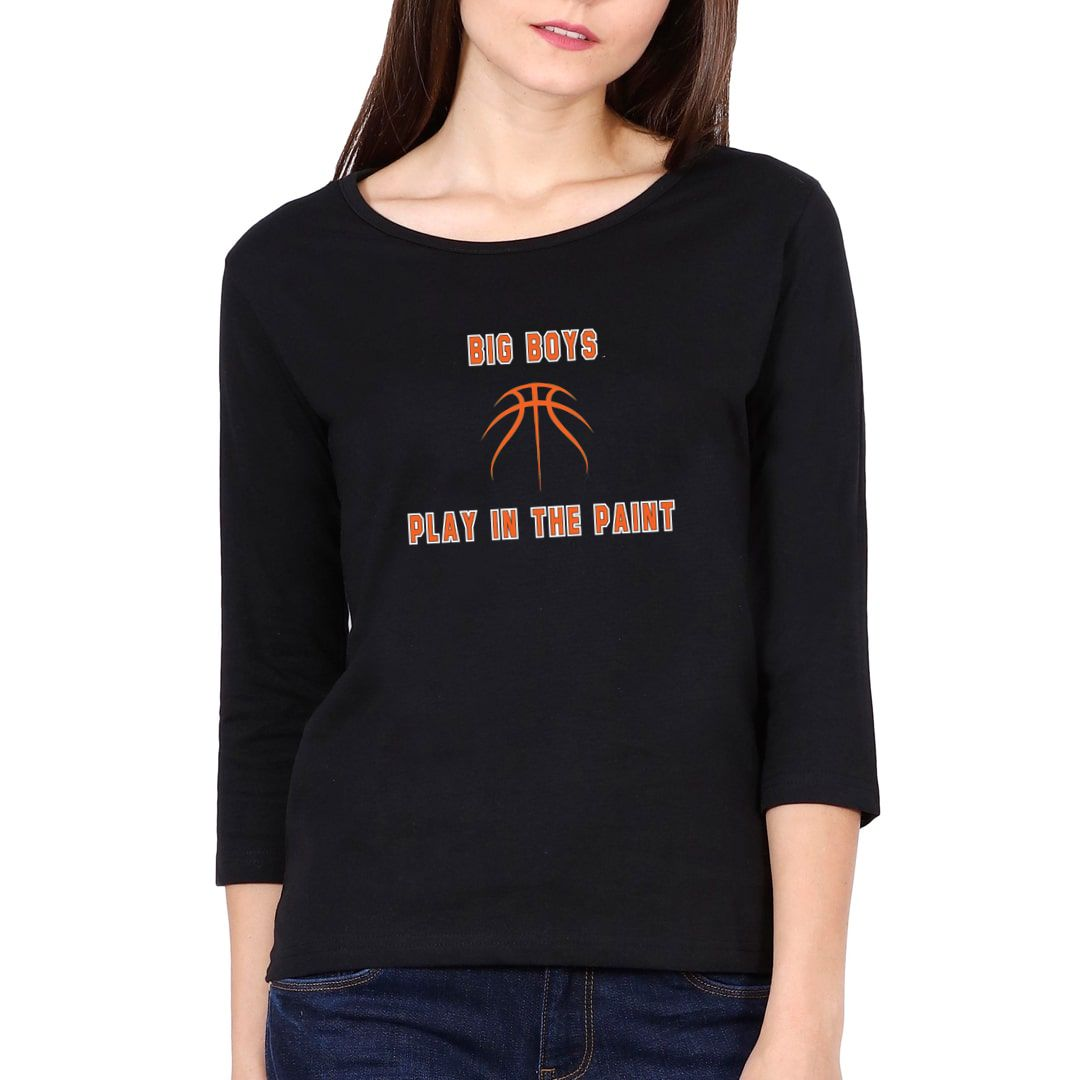 0be71cc9 Big Boys Play In The Paint Basketball Elbow Sleeve Women T Shirt Black Front