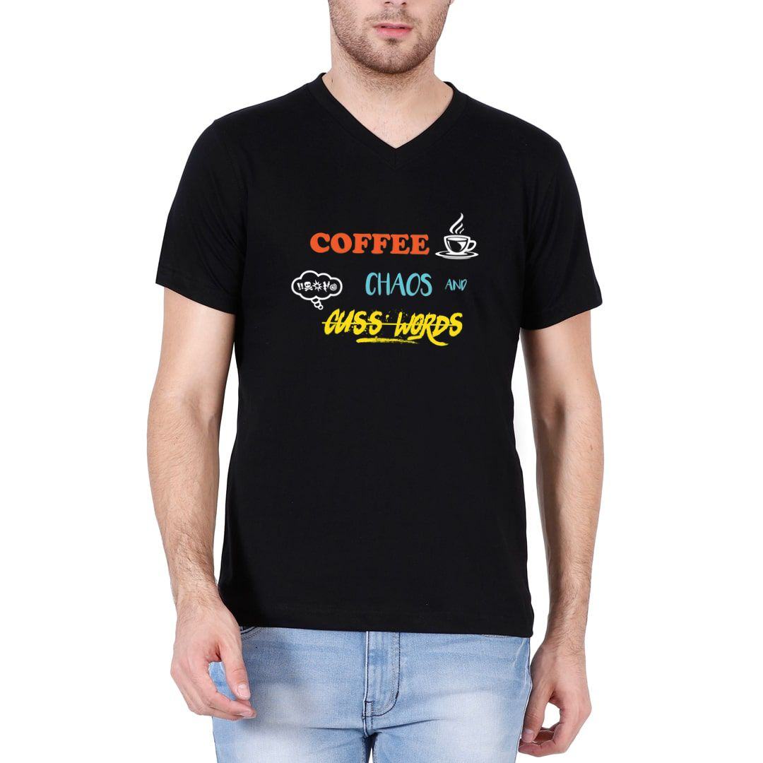 0d6942bd Coffee Chaos And Cuss Words Men V Neck T Shirt Black Front