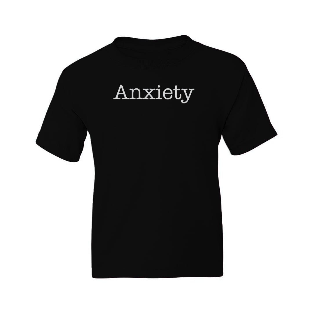 0d935e74 Anxiety Kids T Shirt Black Front