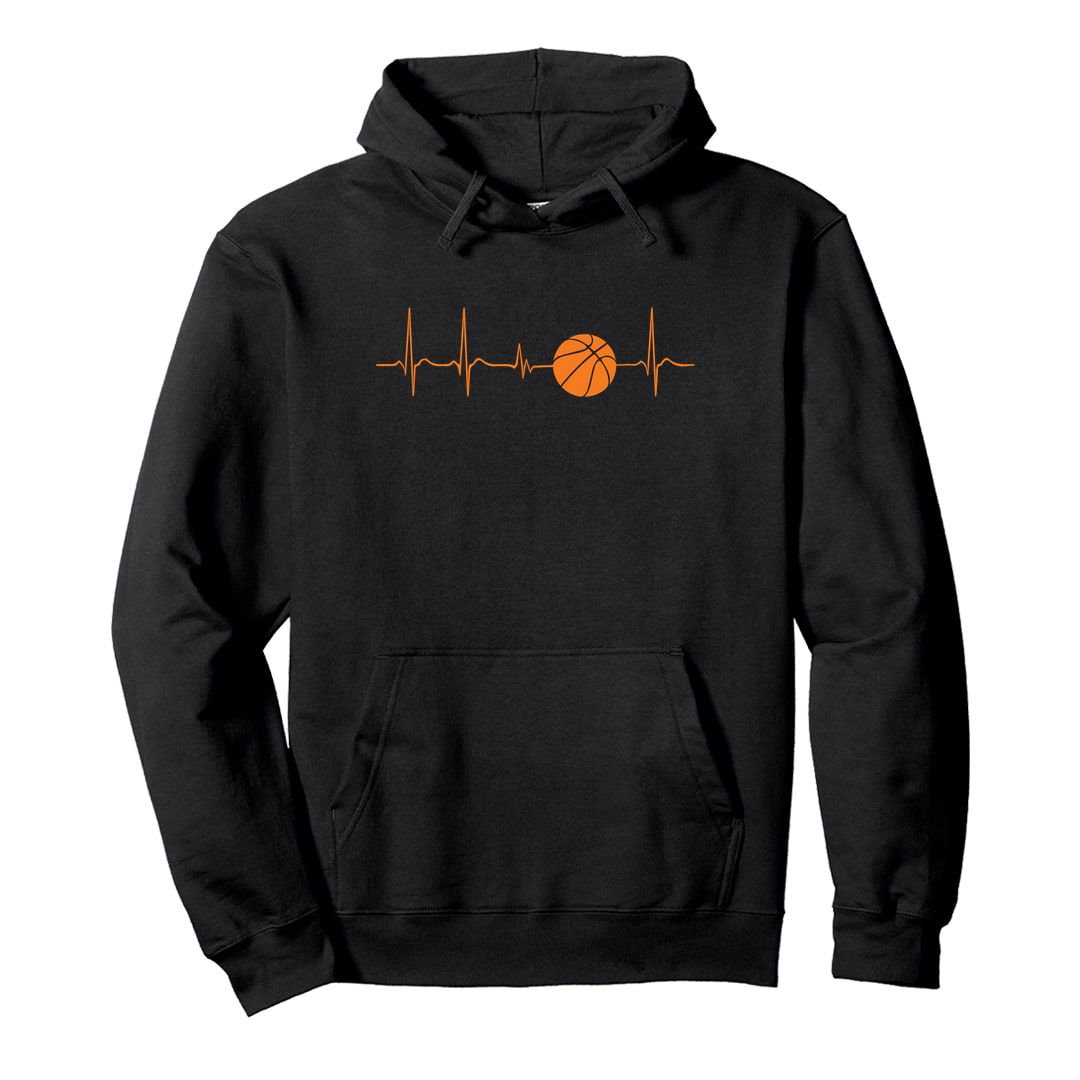 12a78dc2 Basketball Its In My Heartbeat Unisex Hooded Sweatshirt Hoodie Black Front