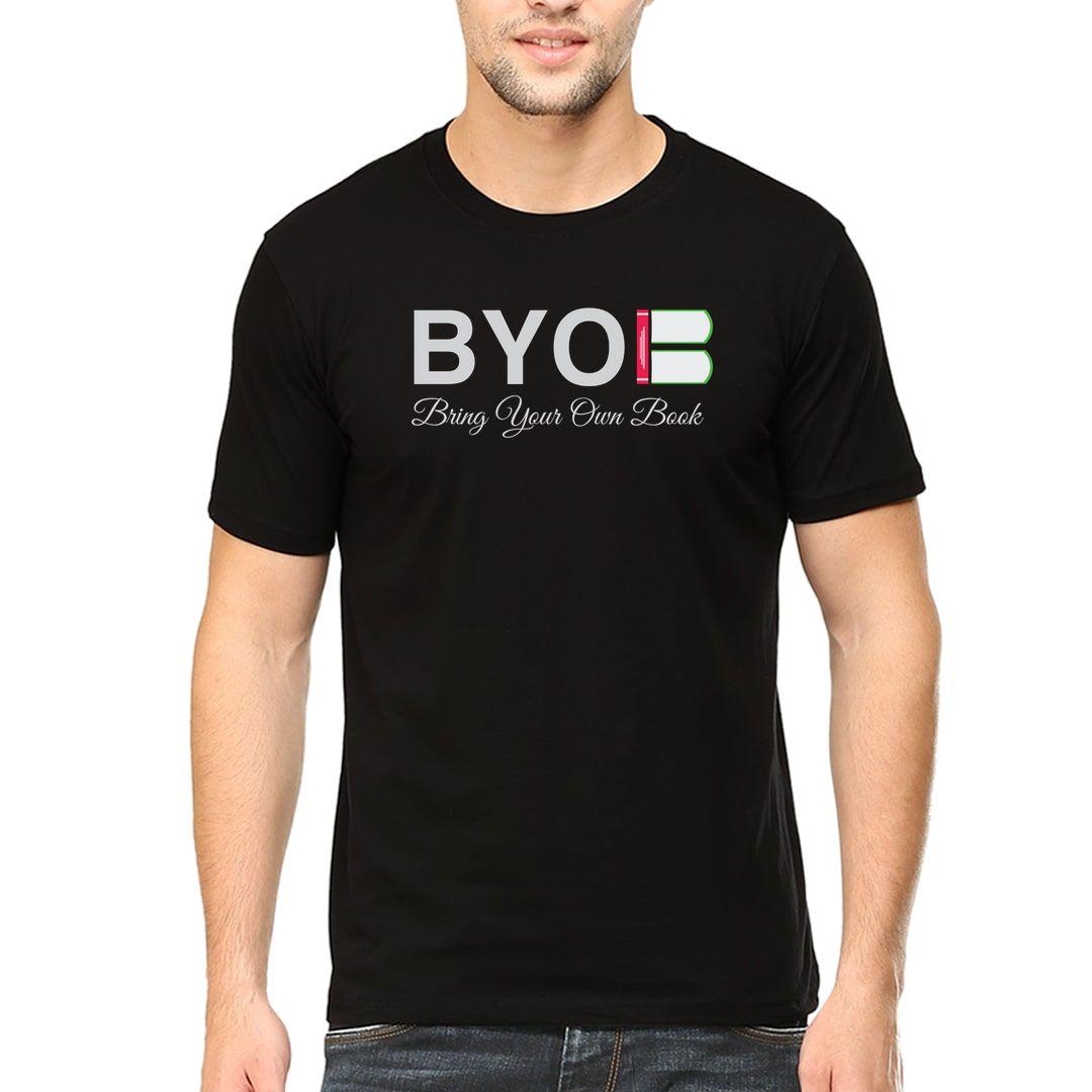 177ccb0d Byob – Bring Your Own Book Men T Shirt Black Front