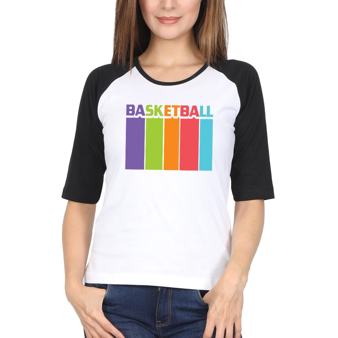 1800dad1 Basketball Tall And Colourful Women Raglan Elbow Sleeve T Shirt Black White Front